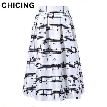 CHICING 2016 Fashion Women Piano Music Note Melody Print Pleated High Waist Fall Winter Flared Tutu Midi Girl's Skirts A1506011