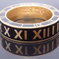 Roman numbers ring with black enamel by Ozznick1 on Etsy