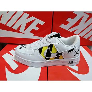 """""""Nike Air Force 1 """" Unisex Casual Fashion Multicolor Stripe Plate Shoes Couple Sneakers"""