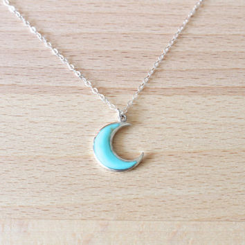 Turquoise Moon Necklace, Sterling Silver Moon Necklace, Crescent Moon necklace, Kingman turquoise necklace,Silver moon necklace,Moon jewelry