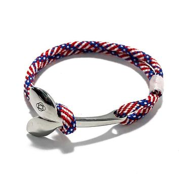 Patriotic Nautical Whale Tail Bracelet Stainless Steel 187