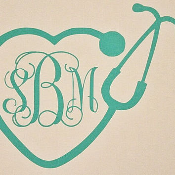 Stethoscope Monogram Car Decal