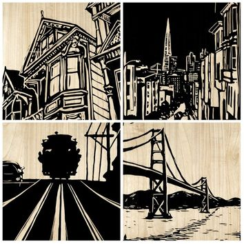 Set of 4 San Francisco City Panel design by Selamat – BURKE DECOR