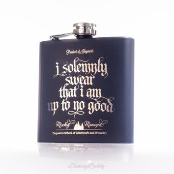 Marauder's Map - I solemnly swear that I am up to no good- Mischief Managed, Harry Potter inspired - 6oz, 8oz Engraved (Black Matte) Flask