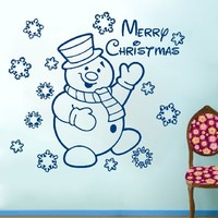 Wall Decals Merry Christmas and Happy New Year Snowflakes Snowman Decal Vinyl Sticker Bedroom Home Decor Nursery Baby Room Art Murals MS737