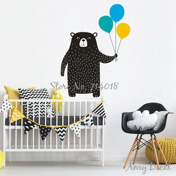 Cute Bear with Balloons Wall Sticker Woodland Animal Vinyl Wall Decal for Kids Room Bedroom Nursery Decor Wall Tattoo A825