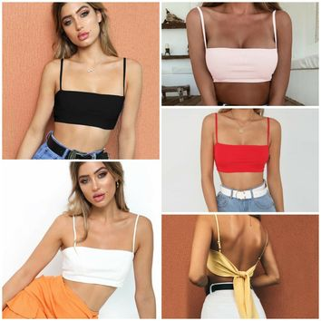 Bralette Comfortable Hot Stylish Spaghetti Strap Summer Sexy Backless Beach Crop Top Vest [1914362003510]