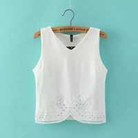 Casual Chiffon Lace Embroidered Edge Sleeveless V-Neck Blouse