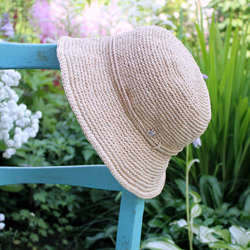 Raffia hat, Sun hat womens, Packable sun hat, Bucket sun hat, Straw hat, Adjustable sun hat, Rollable hat