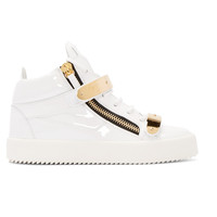 White Patent London Mid-Top Sneakers