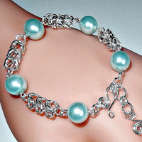 Beaded chainmaille bracelet - glass pearls - byzantine chainmail weave - bauble bracelet - silver plated
