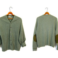 1950s olive green wool sweater button up 50s cardigan sweater LEATHER ELBOW PATCHES grandpa slouchy hipster grunge nerd Womens Medium Large