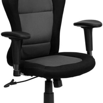 Race Car Inspired Bucket Seat Swivel Task Chair in Gray & Black Mesh