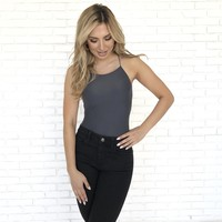 Slinky Charcoal Grey Bodysuit