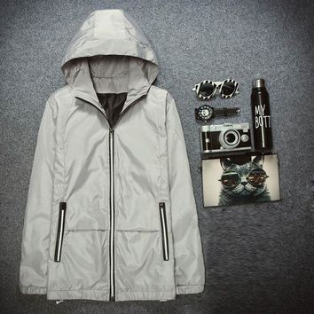 Tagnest Hooded Solid Wind Proof Jacket