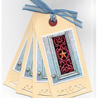 Gift Tags, With Every Door We Open, Set of 4, Art Nouveau Door, Photo Art Tags, Large Gift Tags, Punched Tags