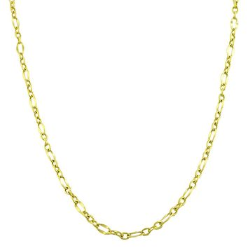 10K Yellow Gold Flat Oval Figaro Chain Necklace,2.3mm, 18""