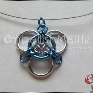 "His / Hers Triad / Trinity Celtic Knot Chainmaille Accent Necklace ~ invisi-cord with silver alloy finish. 20"" cord with 4"" extension."