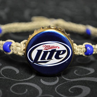 Blue and Gold Miller Lite Recycled Beer Cap Hemp Anklet