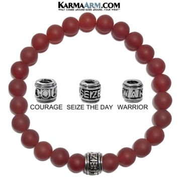 Mantra Motivation Bracelet | Red Agate | COURAGE | SEIZE THE DAY | WARRIOR Bracelet