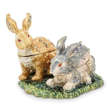 Bejeweled Best Bunnies Trinket Box with Charm Pendant
