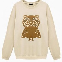 Cream Owl Print Oversized Sweater