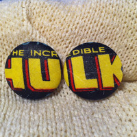 The Incredible Hulk Fabric Button Earrings, Covered Button Earrings, Superhero Earrings, Cosplay, Comic Con Earrings