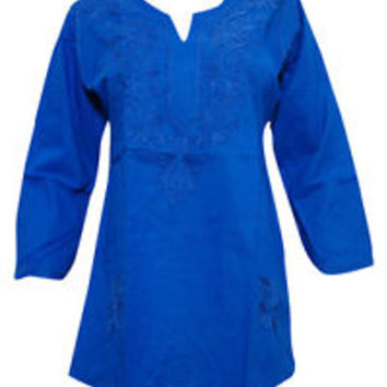 WOMEN'S TUNIC  KURTA BLUE NECK EMBROIDERED COTTON BLOUSE TOP