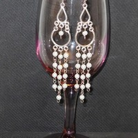 Pearl n Silver Chandelier Earrings
