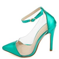 Metallic Ankle Strap Lucite Pointed Cap-Toe Pumps