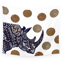 Society6 NAVY & GOLD RHINO Wall Tapestry