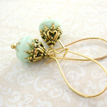 Golden Mint Victorian Style Earrings - Antique Gold Victorian Jewelry - Mint Wedding Jewelry Antique Style Wedding Bridesmaids Gifts