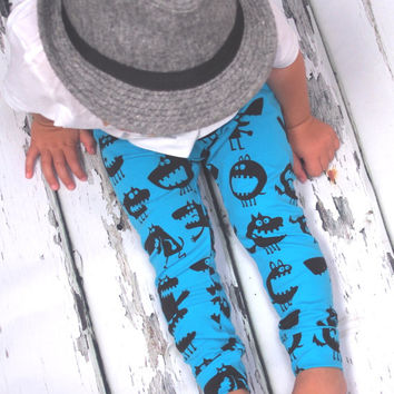 Baby leggings, monster leggings, boys leggings, baby clothes, girls clothing, baby boy clothes,  baby trousers, newborn baby clothes, unisex