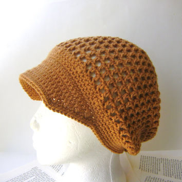 PDF Crochet Pattern, Slouchy Mesh Hat with Brim for Spring and Summer