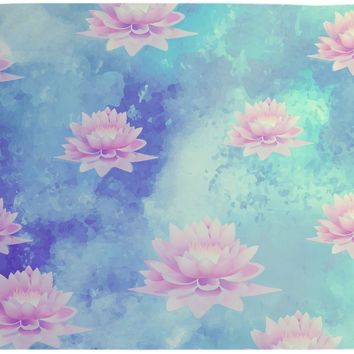 Lotus Tapestry Wall Hanging Blue and Soft Pink Bohemian Decor