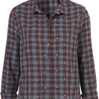 Embroidered Heart Check Shirt