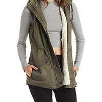 FAUX SHEARLING LINED UTILITY VEST