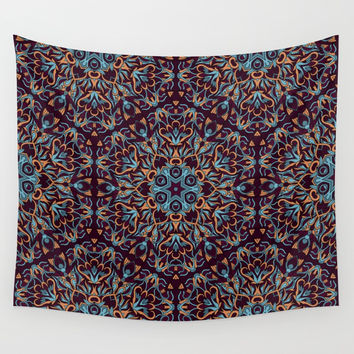 Brown and blue geometric Mandala Rich ornament Wall Tapestry by maria_so
