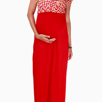 Red Chevron Top Maternity/Nursing Maxi Dress