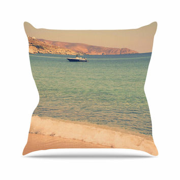 "Violet Hudson ""Drifting By"" Teal Brown Outdoor Throw Pillow"