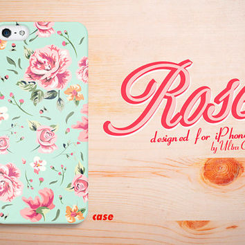 iPhone 5S Case light green Rose Floral Pattern iPhone by UltraCase