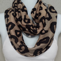 Animal Print Scarf Lightweight Material Infinity Scarf Eternity Loop Leopard Infinity Scarves Fashion Scarf Spots Scarf