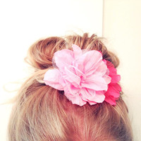 One Pastel Peony Pink Hair Flower Chiffon Tulle Soft Bun Up do Spring Summer Embellishment Child Adult Teen Fluff Pom Pom
