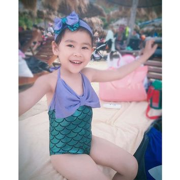 Mermaid children's swimsuits girl fashion princess cute baby conjoined swimsuit girl one pieces swimwear with headband