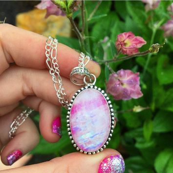 Pink Rainbow Moonstone Necklace (925 Stamped Pendant)