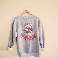 80's  University of Wisconsin College Grey Sweatshirt  U of W  Oversized Slouchy Comfy 1980's Distressed School Shirt Size Unisex Medium M