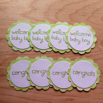 25 Tags for $5.50/Cupcake Toppers/Baby Boy Welcome Party/For Baby Boy Party