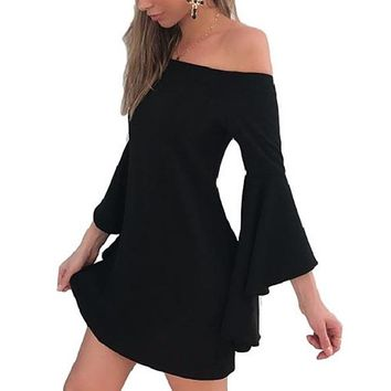 [14823] Bell Sleeves Off Shoulder Mini Dress