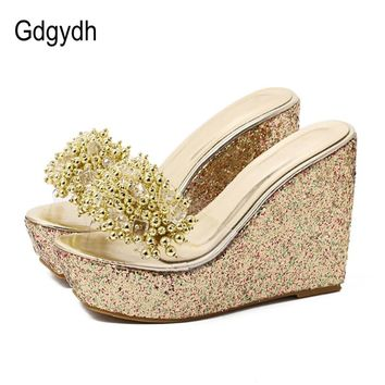Gdgydh Rhinestone Wedges Sandals Women Summer Sexy Trifle Slides Casual Beading Open Toe Female Sandals Platform Shoes
