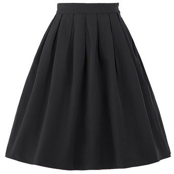Belle Poque Sexy Mini Skirts Womens faldas saia 2017 Summer Vintage High Waist Skirt Flared Ladies Black Red Short Pleated Skirt